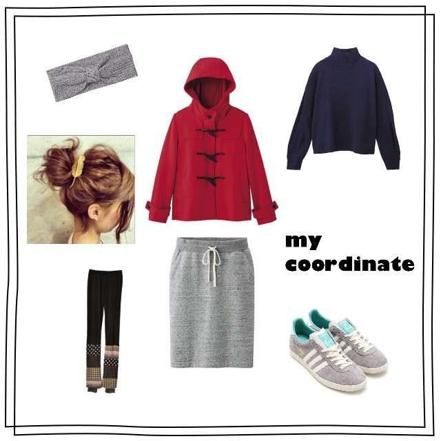 赤ダッフルコートとスウェットタイトスカートのコーデ