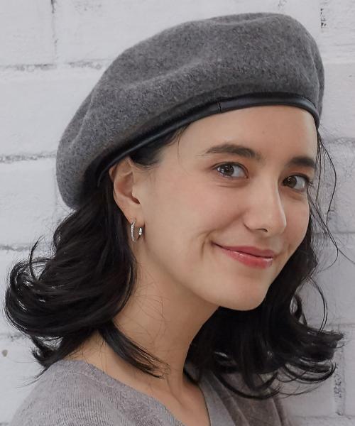 レザーパイピングベレー帽