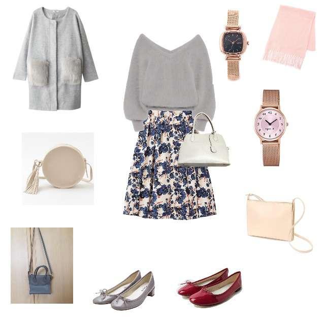 ファーコートとグレーニットと花柄スカートのコーデ
