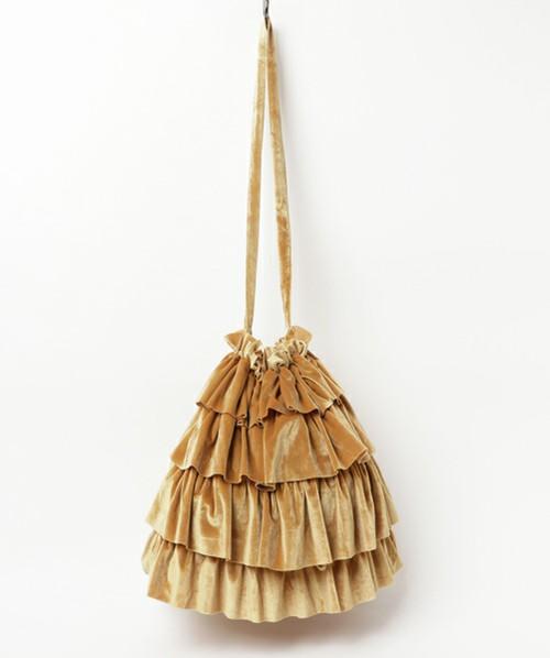 ベロア素材のフリルトートバッグ