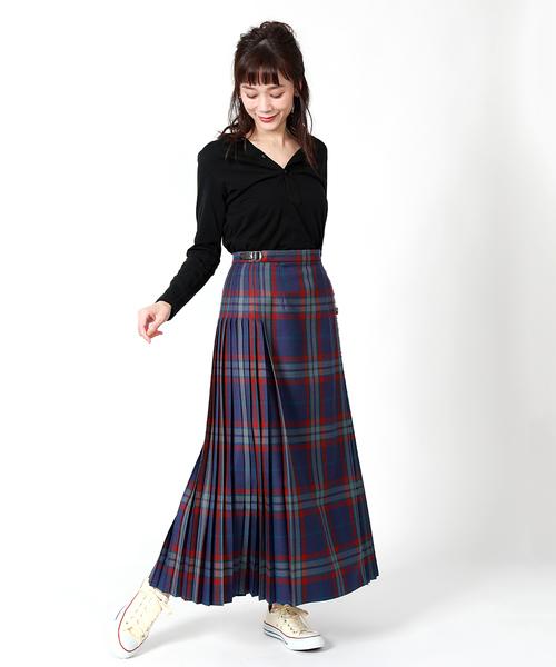 チェックのプリーツ切り替えスカート