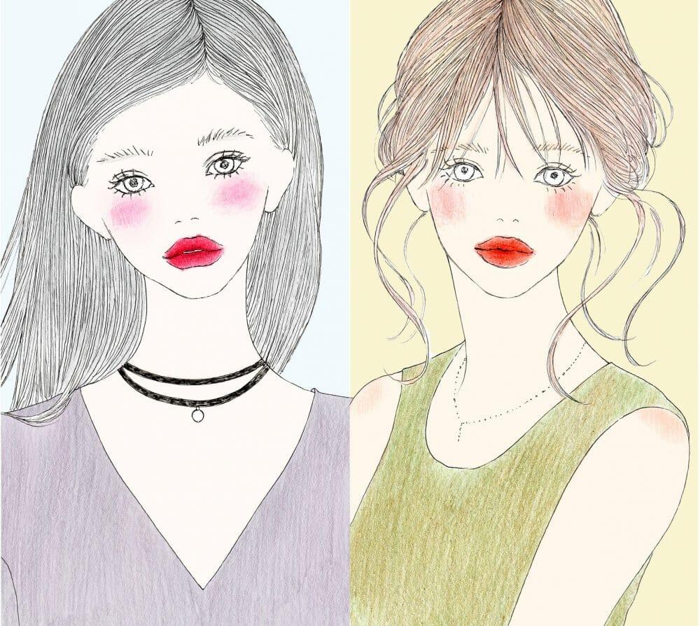 パーソナルカラーがブルベ・イエベの女性の違いのイメージイラスト画像