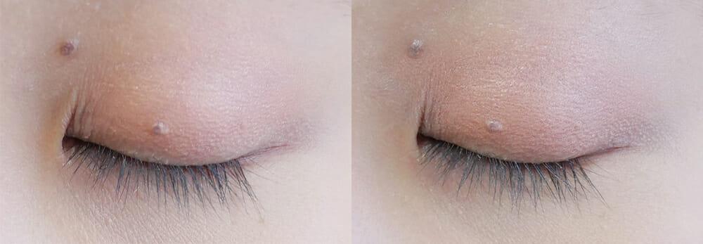 アイシャドウの発色の比較写真