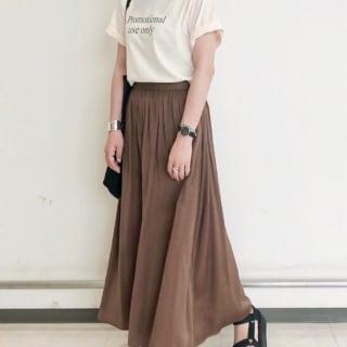 GU・ユニクロのロングスカート、GUのブラウンロングスカートを使ったコーデ