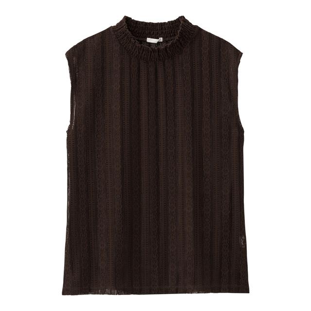 ブラウンのレースTシャツ