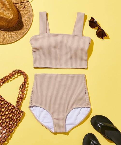 夏のリブ素材ハイウエストショーツのトレンド水着