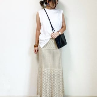 GUの透かし編みロングスカート