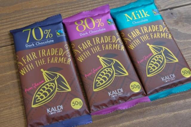 カルディ フェアトレードチョコレートの3種類のトップ画像