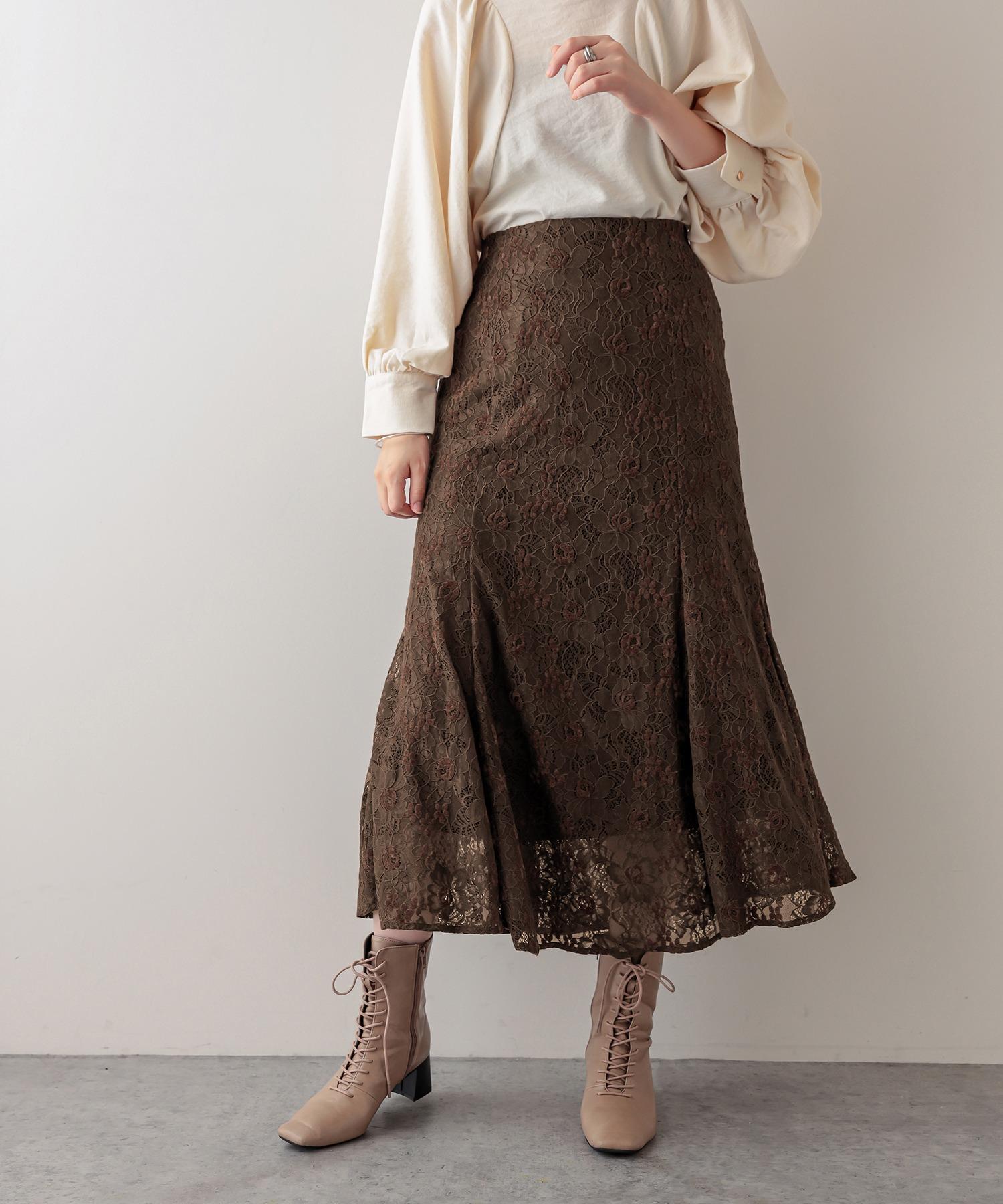 お花ベロアレースマーメイドスカート