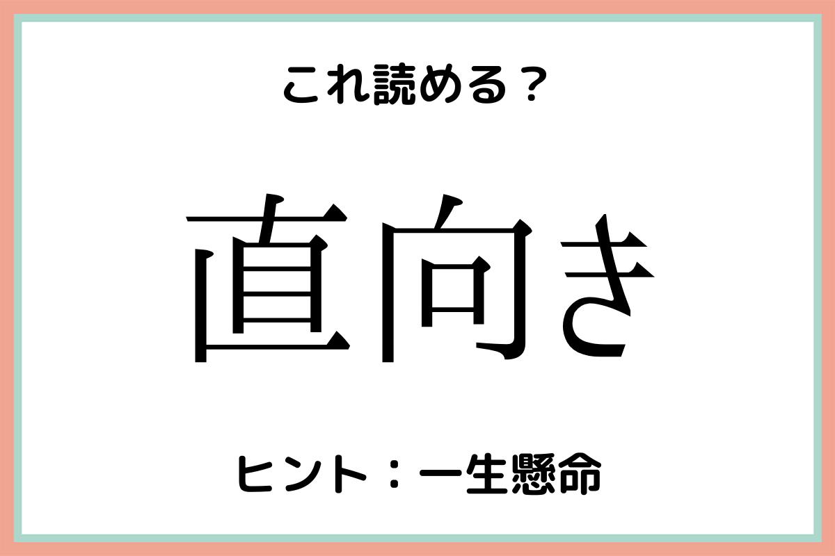 難しい漢字直向き