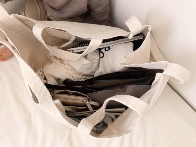 無印良品の持ち手が二つあるトートバッグ持ち手