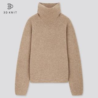 3Dラムブレンドタートルネックセーター(長袖)