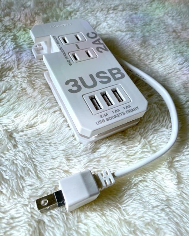 3コインズの2口AC+3口USBポートタップ0.2m