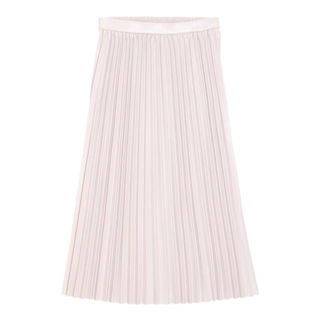 白のレザープリーツスカート