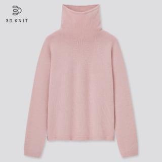 3Dカシミヤブレンドタートルネックセーター(長袖)