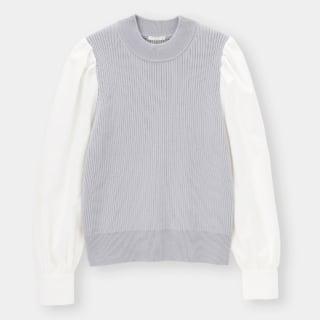 白のシャツスリーブがドッキングしたブルーのリブ編みニット