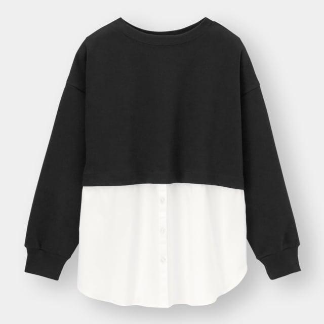 黒のスウェットに白のシャツがドッキングされたプルオーバー
