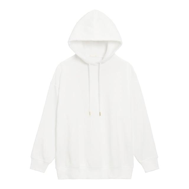 白のパーカー
