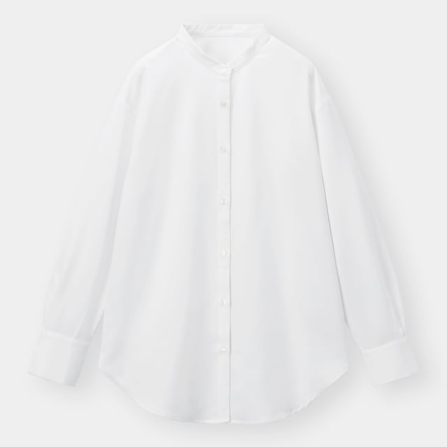 白のバンドカラーロングシャツ