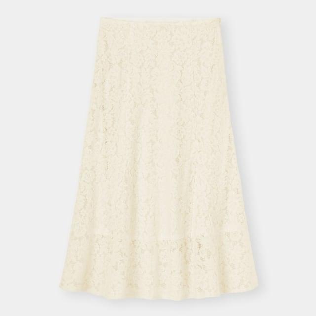 白のレース柄マーメイドスカート