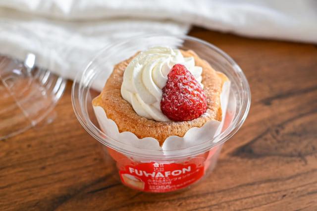 ローソンのフワフォン -ふわふわシフォンケーキ いちごのせ-の開封後
