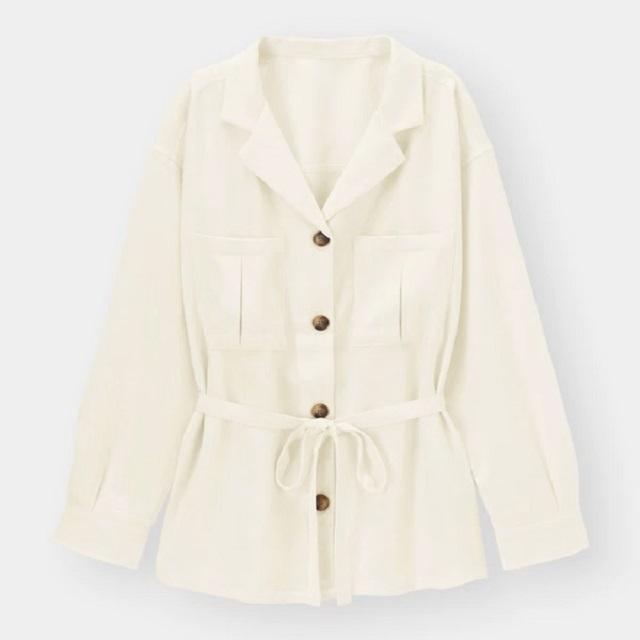 オープンカラーダブルポケットシャツ(長袖)(セットアップ可能)のオフホワイト