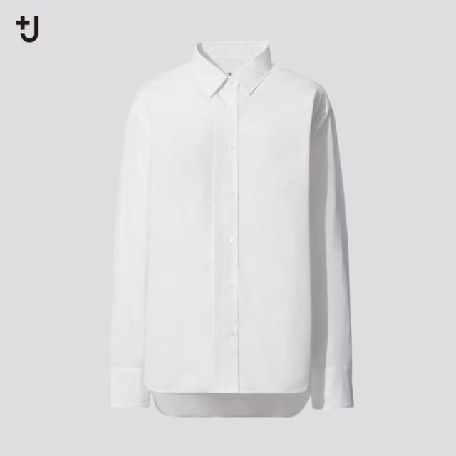 スーピマコットンオーバーサイズシャツ(長袖)のホワイト