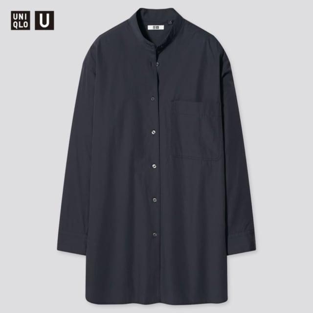 オーバーサイズシャツ(長袖)のダークグレイ