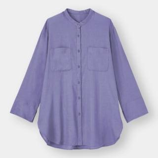 GUのリネンブレンドバンドカラーシャツ