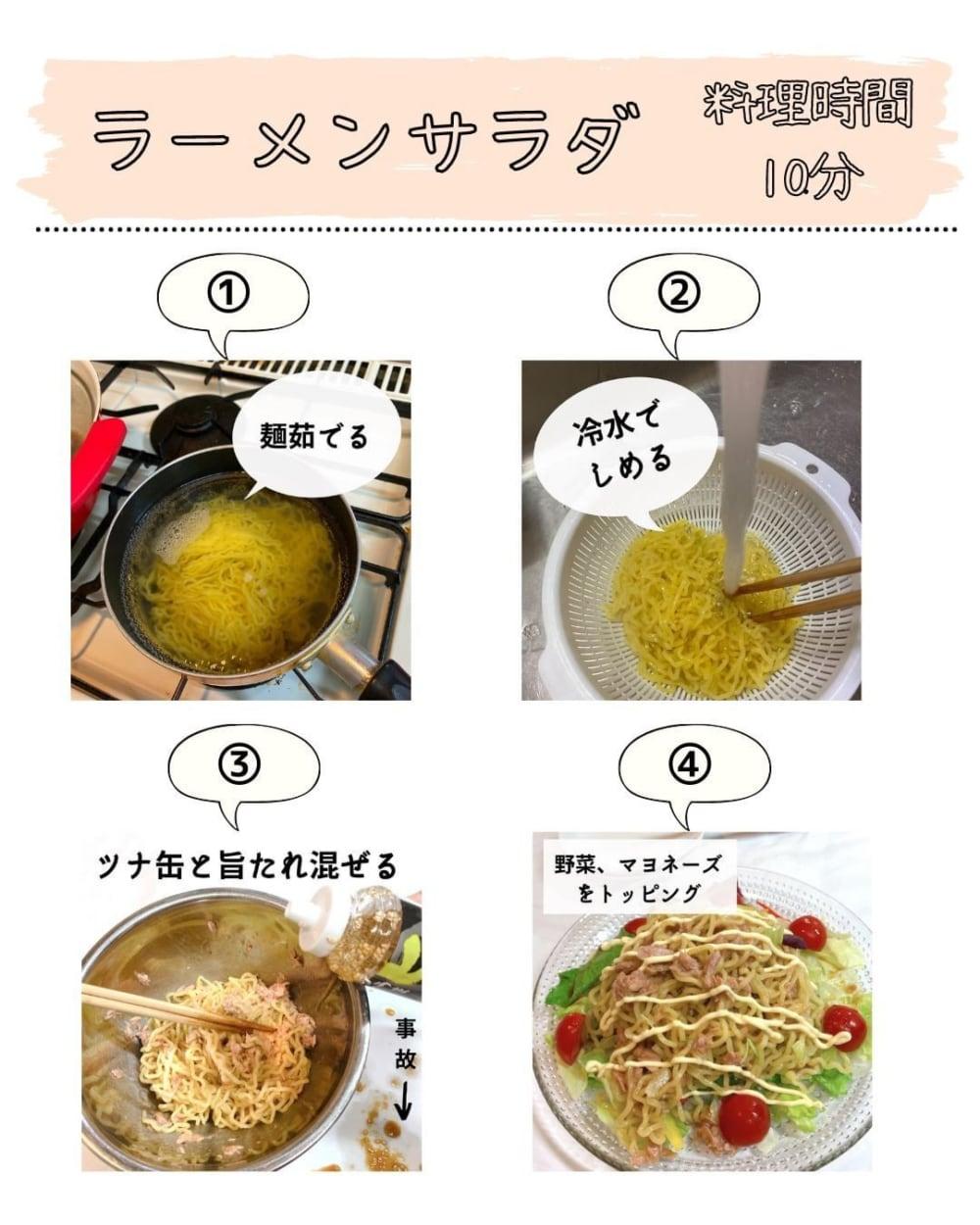 カルディのサラダの旨たれで作るラーメンサラダの作り方写真