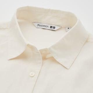 ユニクロのリネンブレンドプルオーバーシャツの首元の写真