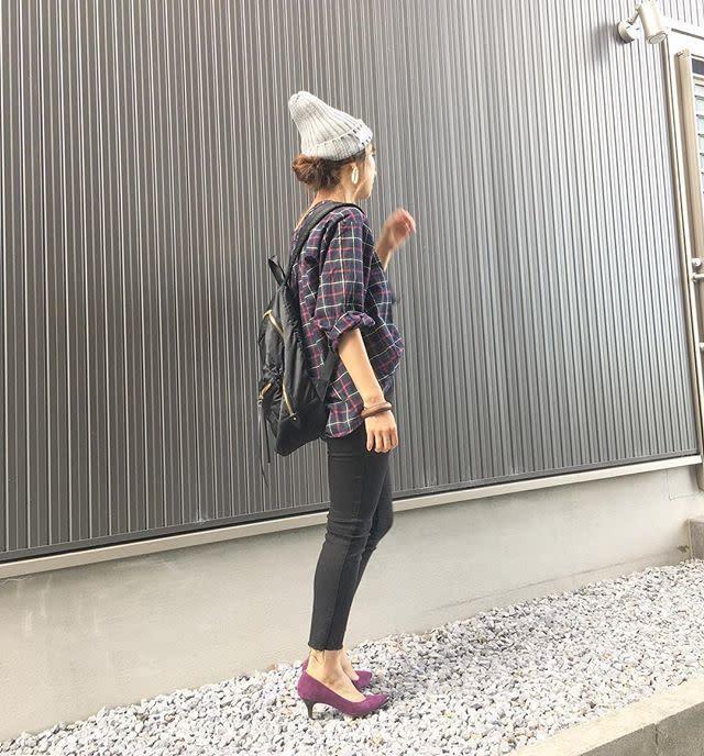 ニット帽チェックシャツとスキニーデニムのコーディネート