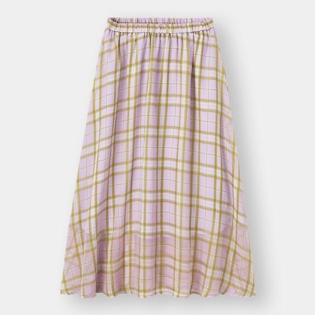 GUのシアーチェックフレアスカート