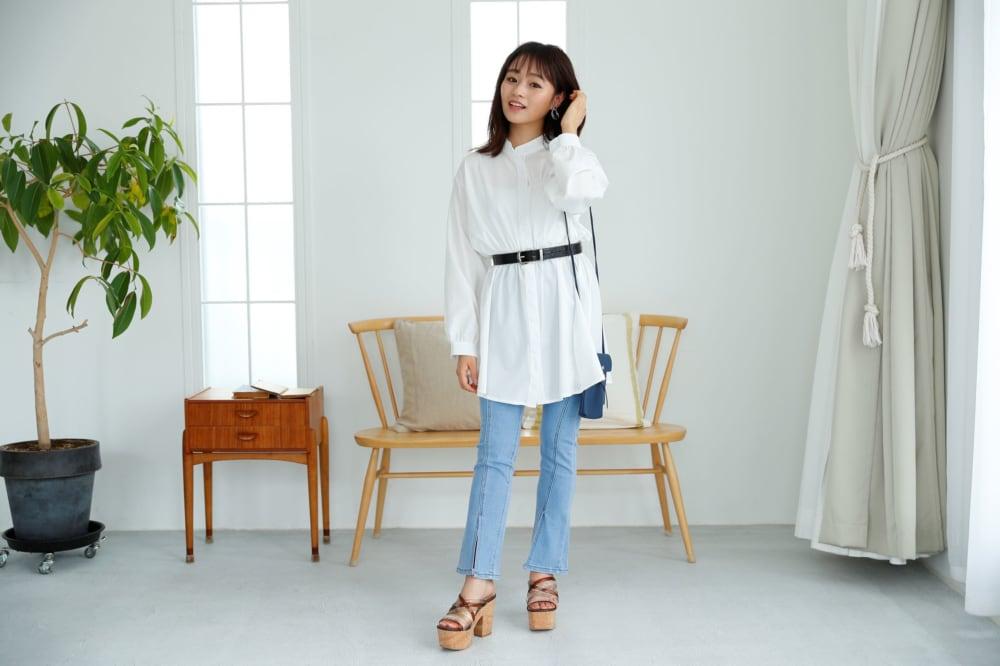 オンライン映えのシャツワンピコーデ