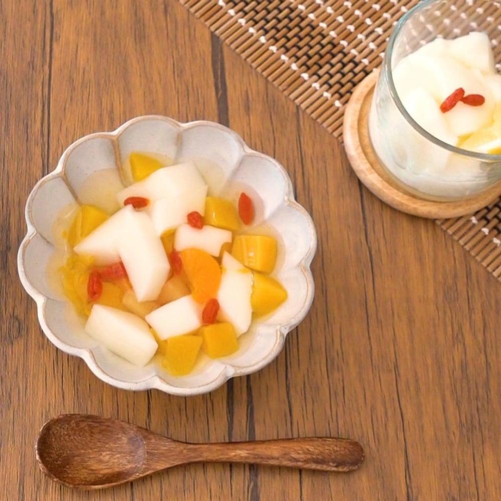 業務スーパーの杏仁豆腐で作ったフルーツポンチの写真
