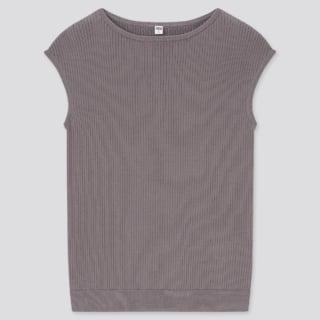 UVカットスーピマコットンフレンチスリーブセーター