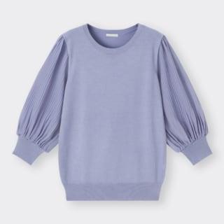 プリーツスリーブクルーネックセーター