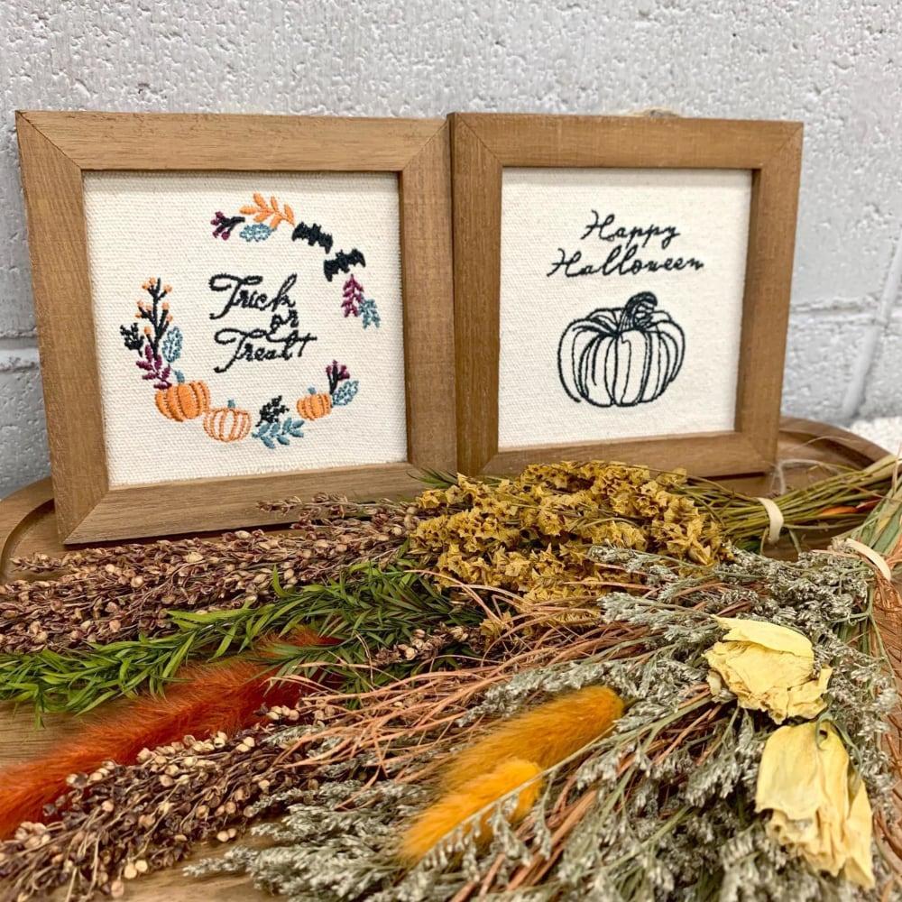 ハロウィン刺繍パネル